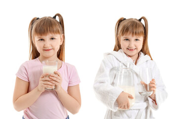 Little girl with milk on white background