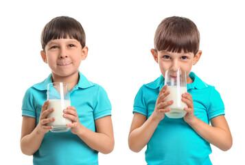Little boy with milk on white background