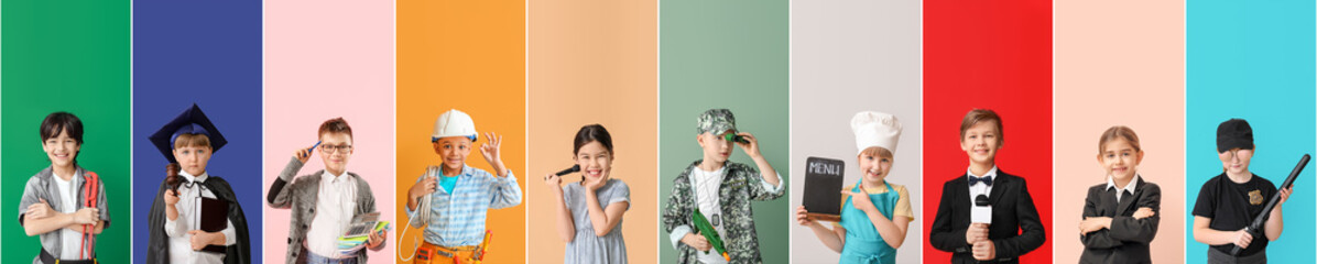 Collage with little children in uniforms of different professions on color background