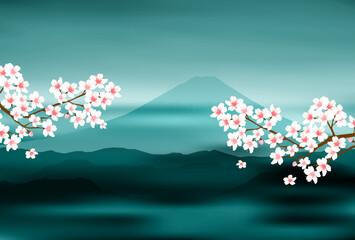 富士山 桜 年賀状 背景