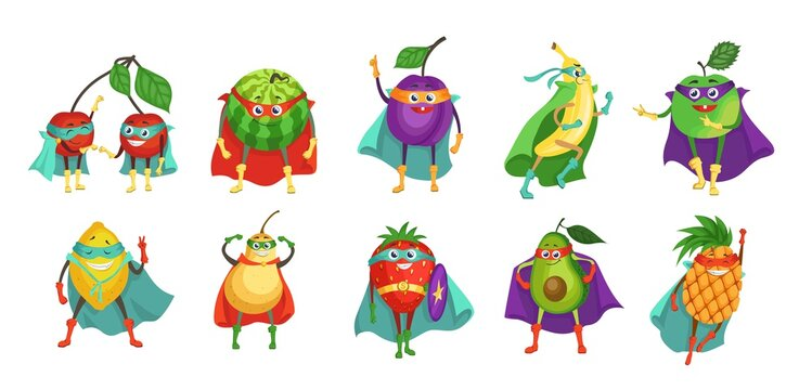 Funny superhero fruit and berry cartoon character set, flat vector illustration. Cute cherry, plum, banana, apple, strawberry, watermelon, lemon, pear, avocado, pineapple in super hero cape and mask.