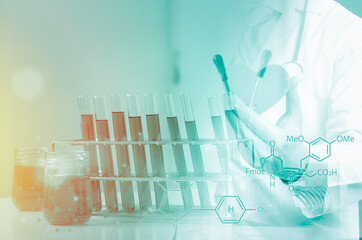 Double exposure of test tube science and doctor,Laboratory glassware containing chemical liquid,