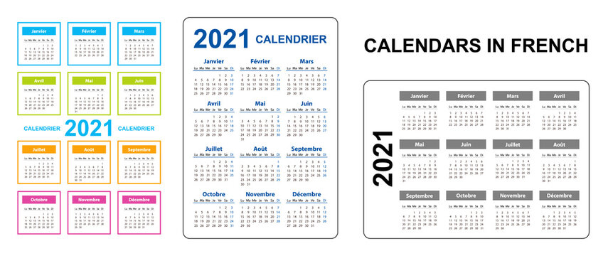 Pocket calendar on 2021 year, French. Set Vertical and horizontal. Week starts from Monday. Vector template calendar for business on black background.