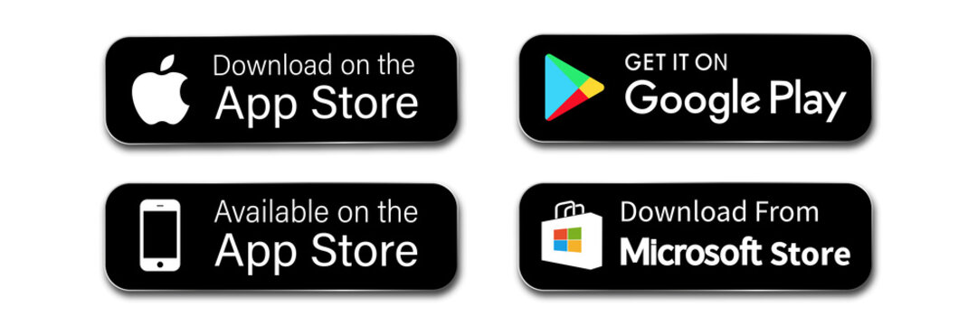 buttons google play apple store download application. isolated vector button for mobile phone ios, windows, microsoft, android app. editorial stock illustration on white background