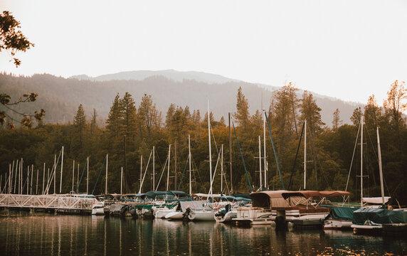 Sailboats moored in lake harbor, Whiskeytown Lake, Redding, California, USA