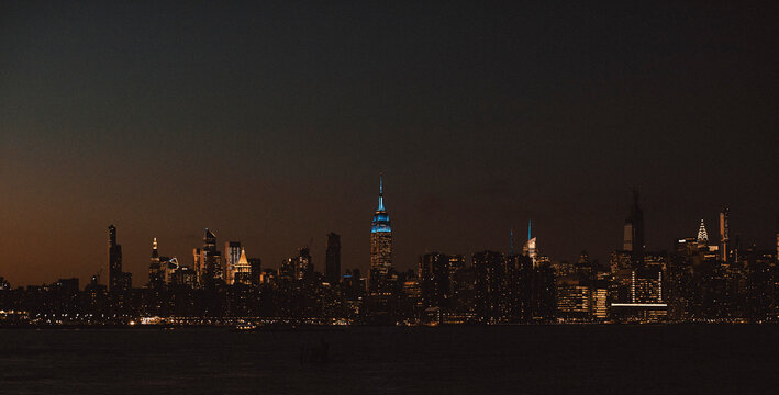 One World Trade Center and cityscape at night, New York City, New York, USA