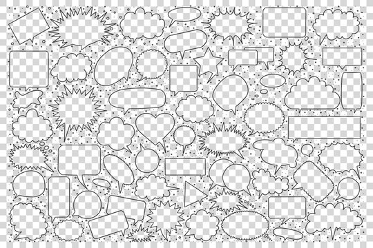 Speech bubble doodle set. Collection of hand drawn sketches templates pattern of cloud form object demonstration communication dialog on transparent background. Cartoon symbol illustration.