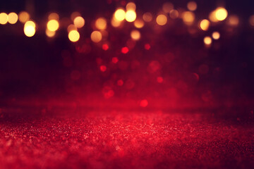 Printed roller blinds Akt background of abstract red, gold and black glitter lights. defocused