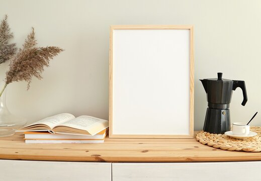 Books and coffee theme, empty frame for design, photo, print, boho style frame mockup.