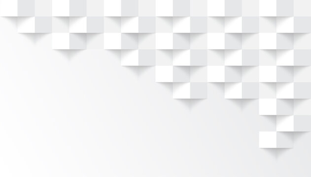 White abstract modern square texture background, 3d paper art style that looks creased design
