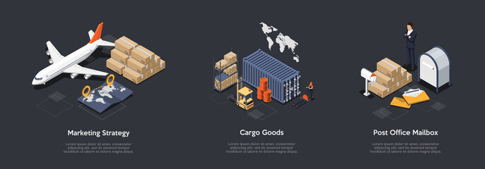 Fototapeta Airlines Marketing Strategy, Cargo Goods Transportation, Post Office Mailbox Rent Concept. Innovate Marketing Strategy For Airlines, Cargo Shipping And Delivery. 3d Isometric Vector Illustration Set