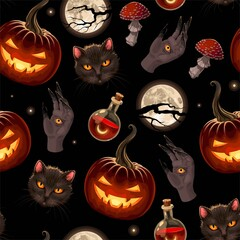 Vector seamless pattern for Halloween with pumpkin