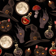 Seamless pattern with witch hats and moon
