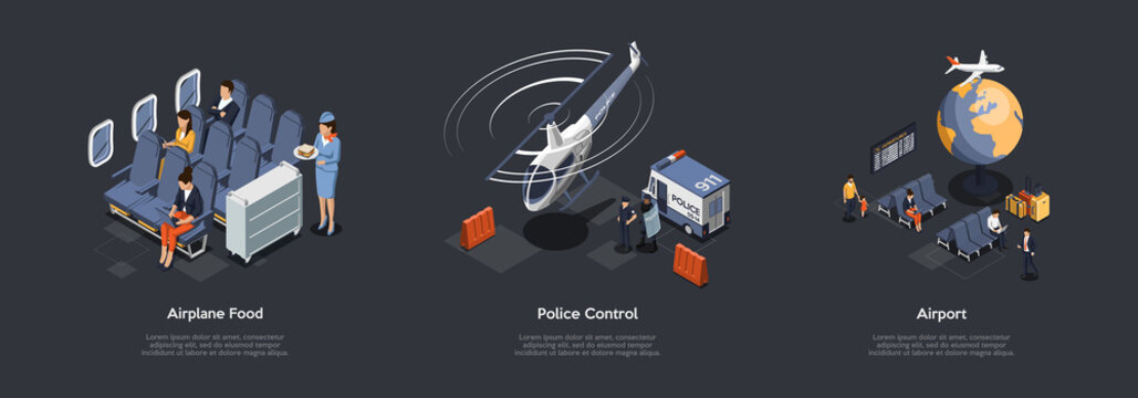 Airline Service And Police Control Concept. Stewardess Brings In-Flight Meal. Emergency 911, Police Helicopter On Duty. Passengers, Guests At The Airport Lounge. 3d Isometric Vector Illustration Set
