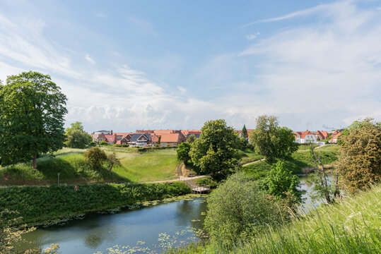 the moat and green landscape at the fortifications in Fredericia