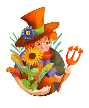 Gardener with garden tools and flowers. Autumn character with pitchfork, flowers illustration