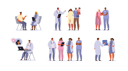 Doctors and Patients Characters set. Doctor Diagnosing Family, Nurse Helping Elderly Woman, Therapist Talking to Patient. Different Medical Staff Standing Together.  Flat Cartoon Vector Illustration.