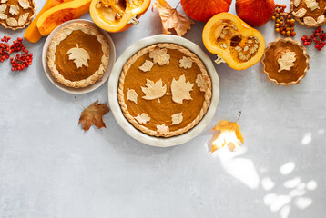 Pumpkin pie sale template with blank space for a text