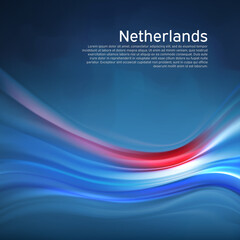 Netherlands abstract flag background. Blurred pattern of light colors lines of the dutch flag in the blue sky, business brochure. State banner, Dutch poster, patriotic cover, flyer. Vector design