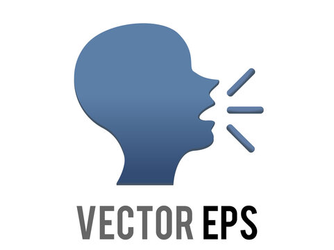 Vector dark blue silhouette of speaking person head emoji icon with lines demonstrating speech