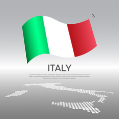 Italy wavy flag and mosaic map on light background. Creative background for the national italian poster. Vector design. Business booklet. State italian patriotic banner, flyer