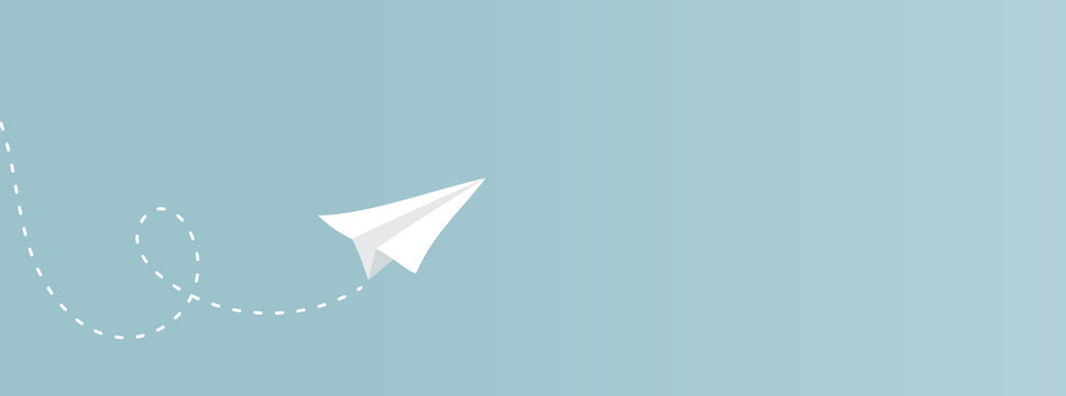 Paper plane flying with contrail. Horizontal banner. Vector illustration, flat design