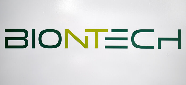 The logo of German biotech firm BioNTech is pictured in Marburg