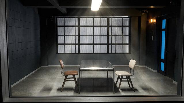 Modern interrogation room seen through a security glass window 3d illustration
