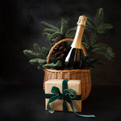 Papiers peints Fleur Christmas holiday gift hamper with sparkling wine and gift on black.