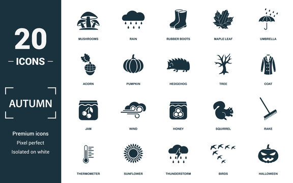 Autumn icon set. Monochrome sign collection with mushrooms, rain, rubber boots, maple leaf and over icons. Autumn elements set.