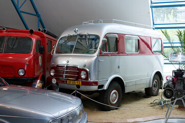 Tatra 805, Tatra technical museum, Koprivnice, Czech Republic / Czechia - September 11, 2020: Old retro and vintage recreational vehicle and camper van. Vehicle on exhibition. Shallow focus.