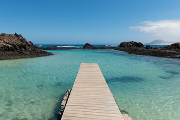 Wooden pier in Isla de Lobos, Canary Islands, Spain.