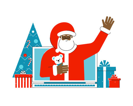 Vector isolated flat concept with gift boxes and christmas tree. Cartoon character of african american Santa Claus. He greets people from computer screen. Online shopping on the eve of Winter holiday