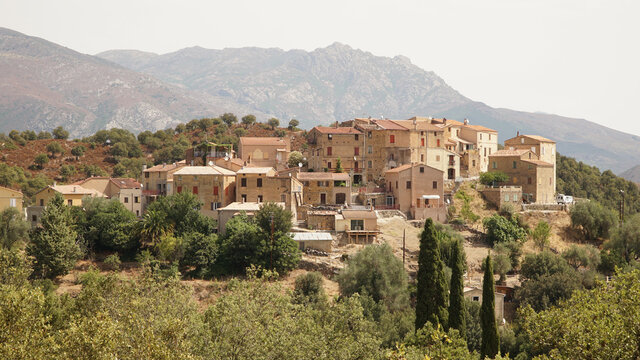 Borgo village set on top of a hill in the countryside of the Palasca region of Corsica Island, France.