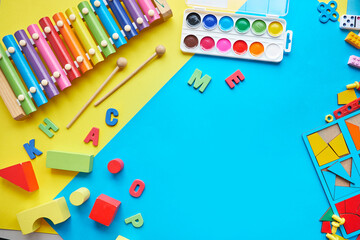 School supplies, stationery space for caption. Back to school concept. School, education and...