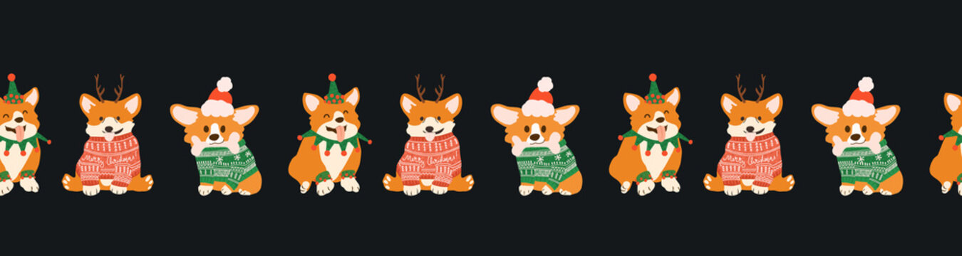 Cute corgi in ugly sweaters for Christmas party