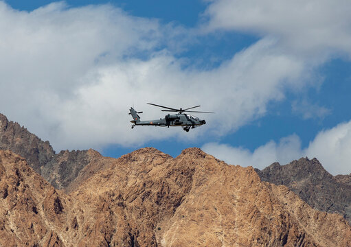 An Indian Air Force's Apache helicopter is seen in the Ladakh region