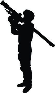Soldier with his weapon silhouette vector on white background