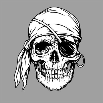 Pirate skull head in bandana.