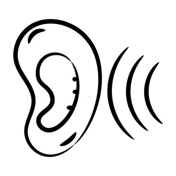 The area or distance within which something can be heard, hearing sense line vector