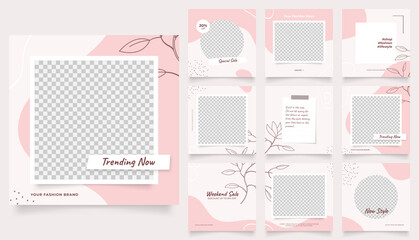 Obraz social media template banner fashion sale promotion. fully editable instagram and facebook square post frame puzzle organic sale poster. pink red vector background - fototapety do salonu