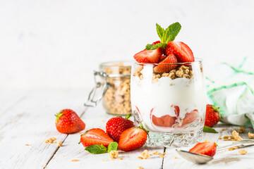Greek yogurt parfait with strawberry.
