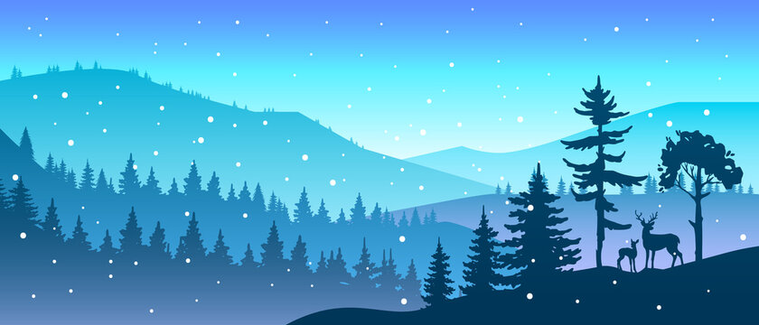 Winter forest landscape with trees and deer silhouette, hills, snowflakes, mountains. Nature Christmas season background with woodland. Winter x-mas minimal landscape in blue colors with animals