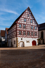 Möckmühl Deutschland Fachwerk Marktplatz Rathaus Fassaden Farben Kulisse historisch Altstadt Baden-Württemberg Heilbronn Sommer Handwerk Tourismus Sehenswürdigkeit Giebel Romantik Baustil Gebäude