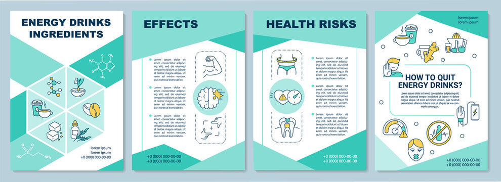 Energy drinks ingredients brochure template. Health risks. Flyer, booklet, leaflet print, cover design with linear icons. Vector layouts for magazines, annual reports, advertising posters