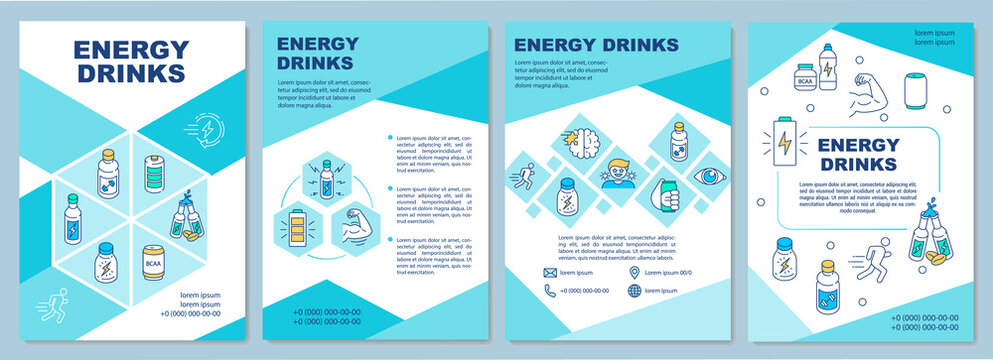 Influence energy drinks brochure template. Caffeine effect. Flyer, booklet, leaflet print, cover design with linear icons. Vector layouts for magazines, annual reports, advertising posters