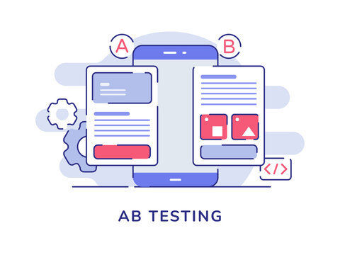 AB testing concept A B comparison split wireframe application on display smartphone screen with flat outline style