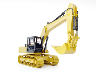 Yellow crawler excavator on white