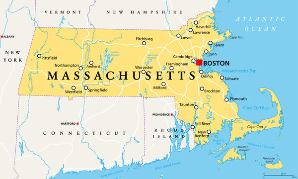 Massachusetts, political map with capital Boston. Commonwealth of Massachusetts, MA. Most populous state in the New England region of the United States. The Bay State. English. Illustration. Vector.