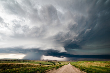 Supercell storm clouds